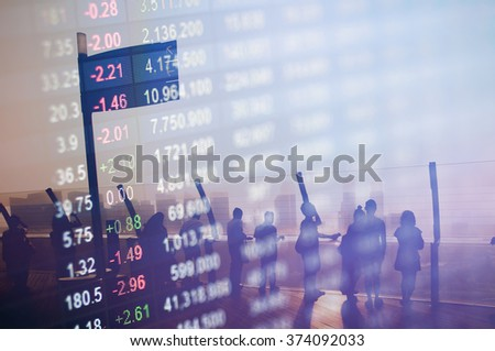 Stock market number overlay on silhouette people meeting. - stock photo