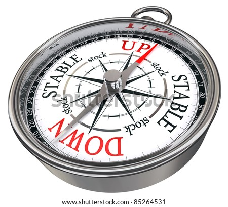 stock market predictor concept compass isolated on white background - stock photo