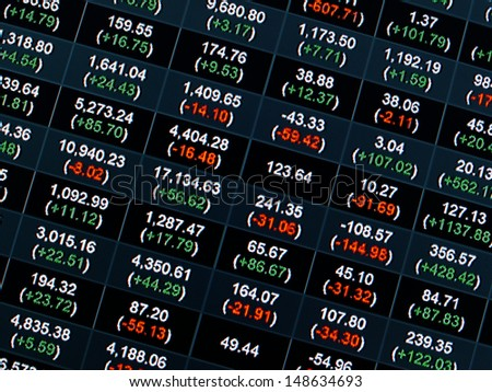 Stock Market Price Chart on led screen - stock photo