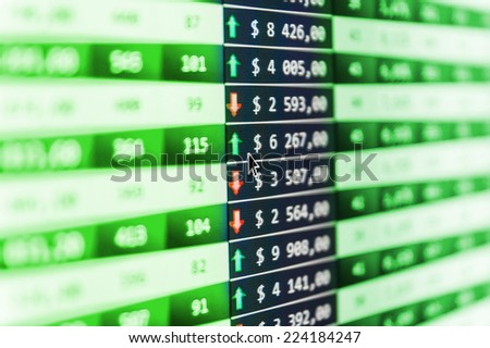 Stock market quotes. Stock market finance graph. Screen live display. Professional bank broker workstation. Electronic stock numbers. Stock data live on-line. Data analyzing. Data analyzing.  - stock photo