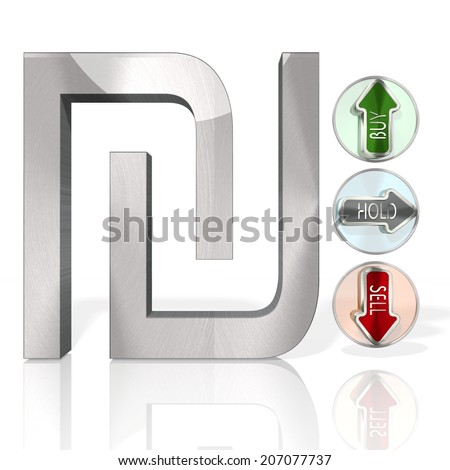 stock market Shekel sign with three analysis buttons 3d rendered and isolated on white background - stock photo