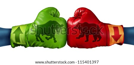 Stock market trading business concept with two boxing gloves with arrows going up and down with bull and bear icon emblems stitched to the glove as investment decisions and financial success. - stock photo