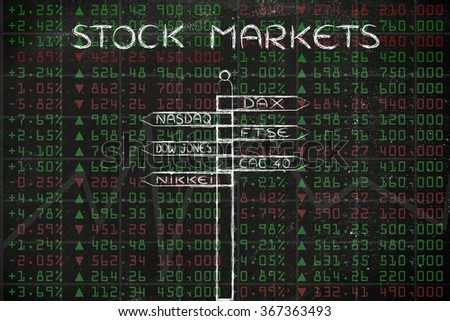 stock markets: directions sign with names of the main international indexes - stock photo