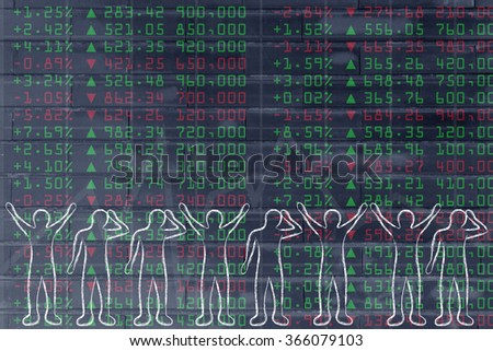 stock markets performance: group of traders with mixed feelings, happy or sad - stock photo