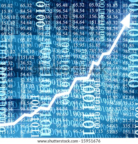 stock numbers on a soft blue background with arrow graph going up - stock photo