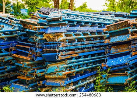 Stock of steel staircase, Thailand - stock photo