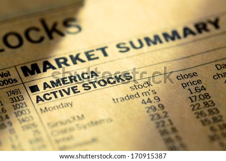 stock of the usa market in the newspaper - stock photo