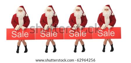 Stock Photo: Christmas theme: happy Santa holding sale sign, isolated over white background. - stock photo