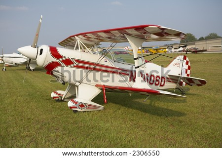 Stock photo of restored biplane at air show - stock photo