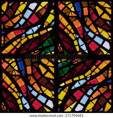 Stock photo - warm toned colorful stained glass church window in a kaleidoscope-like arrangement, square orientation - stock photo