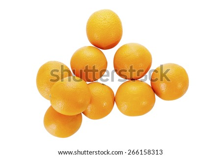 Stock picture of fresh oranges on a white background - stock photo