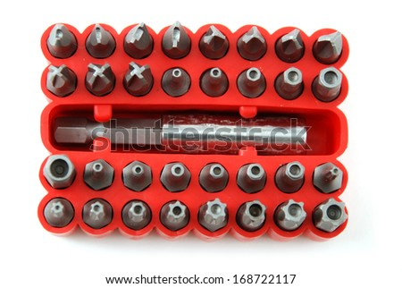 stock pictures of interchangable screw tips in screwdrivers - stock photo