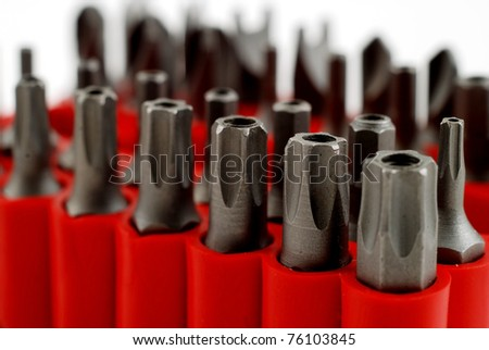 stock pictures of interchangable screw tips in screwdrivers - stock photo