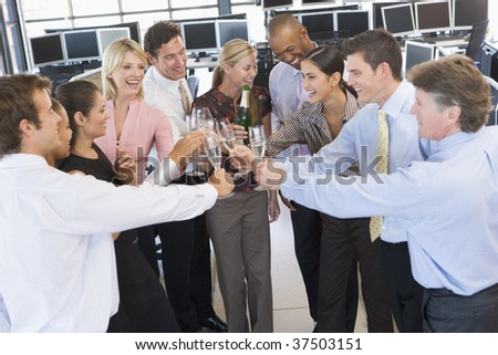 Stock Traders Celebrating In The Office - stock photo