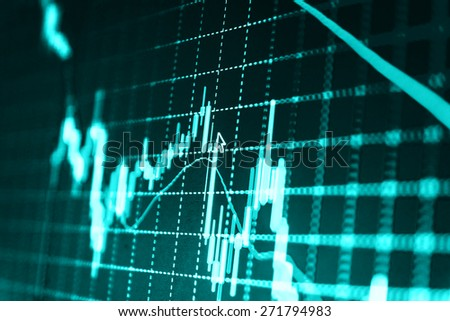 Stock trading chart on monitor screen. Finance background (MORE SIMILAR IN MY GALLERY) - stock photo