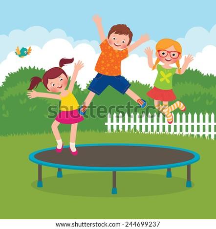 Stock Vector cartoon illustration of funny children jumping on a trampoline/Children jumping on the trampoline/Stock cartoon illustration - stock photo