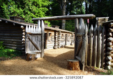 Stockade fence of Fort Clatsop, re-construction at   Lewis and Clark National Historical Park, Oregon - stock photo
