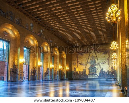 STOCKHOLM - APRIL 12, 2014: Golden Hall of the Stockholm City Hall on April 12, 2014 in Stockholm, Sweden. The City Hall is the venue where the Nobel Prize banquet is held. - stock photo
