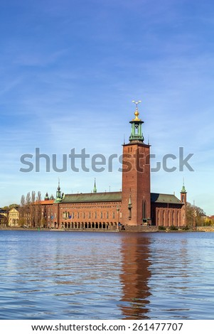 Stockholm City Hall is the building of the Municipal Council for the City of Stockholm in Sweden. It stands on the eastern tip of Kungsholmen island - stock photo