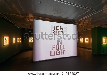 STOCKHOLM, DEC 27: Herb Ritts - In full Light - Exhibition entrance at Fotografiska Museum at display. December 2014 in Stockholm, Sweden. Exhibition: In full Light - stock photo