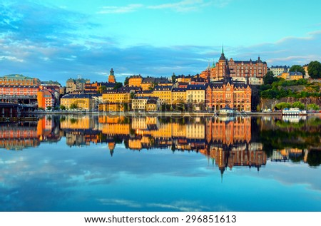 Stockholm early summer morning - stock photo