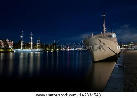 Stockholm harbor in night - stock photo