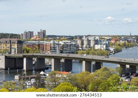 STOCKHOLM - MAY, 9, 2015: The Liljeholmen bridge that connects Liljeholmen to the city center of Stockholm. May 9, 2015, Stockholm, Sweden. - stock photo