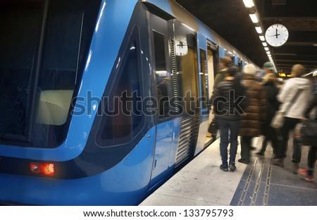 Stockholm Metro Train Station - stock photo