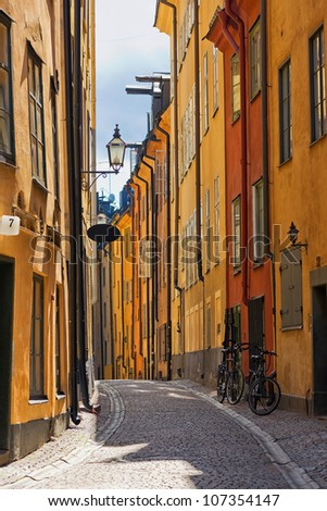 Stockholm Old town cobblestone road - stock photo