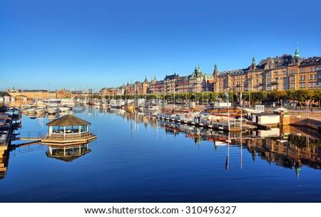 Stockholm panorama shot. View from Djurgardsbron early morning - stock photo