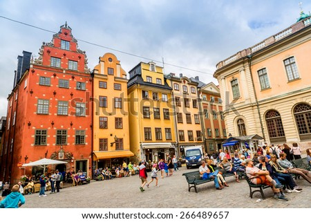 STOCKHOLM - SEPTEMBER 8: oldest medieval Stortorget square in Stockholm, Sweden on September 8, 2014. Stockholm started to be erected around thiis historical central square from 1400 years. - stock photo