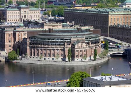 Stockholm, Sweden. Aerial view of Riksdag (parliament) building at Helgeandsholmen island. - stock photo
