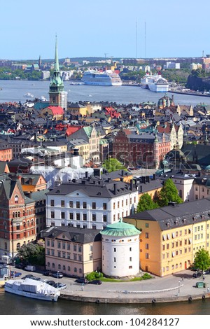 Stockholm, Sweden. Aerial view of the Old Town (Gamla Stan). - stock photo