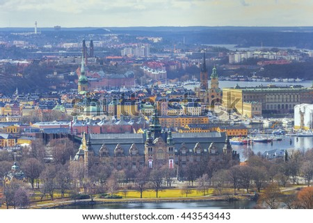 Stockholm, Sweden. Aerial view of the Old Town. Landscape Stockholm city panorama. - stock photo