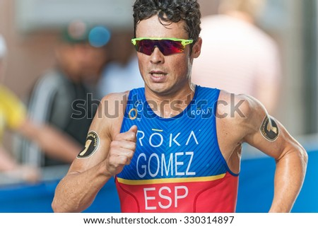 STOCKHOLM, SWEDEN - AUG 22, 2015: Closeup of leader Javier Gomez Noya from Portugal at the Men's ITU World Triathlon series event - stock photo