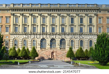 STOCKHOLM, SWEDEN - AUGUST 25,2014:Stockholm Royal Palace is official residence and major royal palace of Swedish monarch. It is located on Stadsholmen in Gamla Stan. Offices of King are located here - stock photo