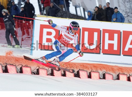 STOCKHOLM, SWEDEN - FEB 23, 2016: Frida Hansdotter (SWE) jumping at the FIS Alpine Ski World Cup - Men's and Woman's city event February 23, 2016, Stockholm, Sweden - stock photo