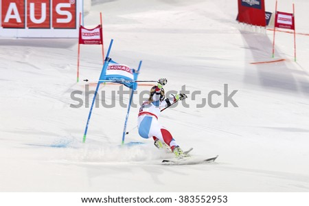 STOCKHOLM, SWEDEN - FEB 23, 2016: Rear view of skier Lara Gut (SUI) at the FIS Alpine Ski World Cup - city event February 23, 2016, Stockholm, Sweden - stock photo