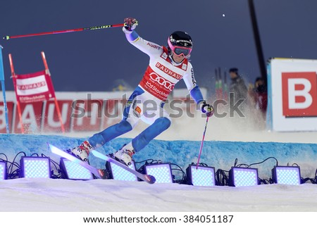 STOCKHOLM, SWEDEN - FEB 23, 2016: Skier Frida Hansdotter (SWE) jumping at the FIS Alpine Ski World Cup - Men's and Woman's city event February 23, 2016, Stockholm, Sweden - stock photo