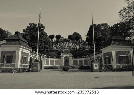 Stockholm, Sweden, July 28, 2014. The Park reserve. Skansen's main entrance. Black-and-white. - stock photo