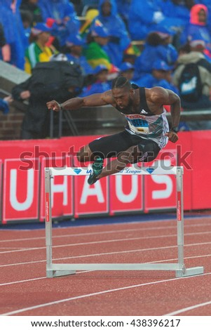 STOCKHOLM, SWEDEN - JUNE 16, 2016: Michael Tinsley in the 400 meter hurdles at the IAAF Diamond League in Stockholm. - stock photo