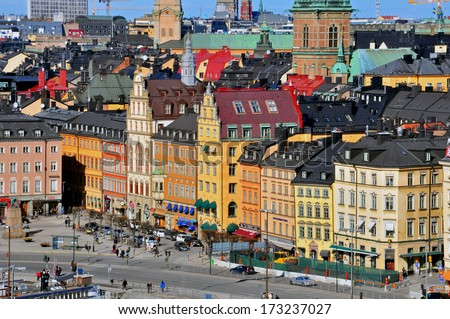 STOCKHOLM, SWEDEN - MARCH 16: People on one of the largest square of Stockholm downtown on March 16, 2013. Stockholm is a capital and the largest city of Sweden.  - stock photo