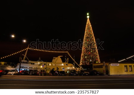 STOCKHOLM, SWEDEN - 30 NOV: Night view at a Christmas tree by Skeppsbron, a part of the old town. This Christmas tree is a famous landmark. Photo taken on 30 Nov 2014 at Stockholm, Sweden. - stock photo