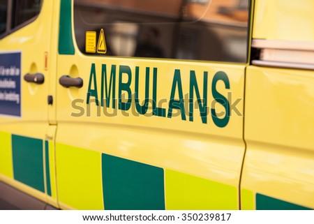 Stockholm, Sweden, 11 October, 2015.  Emergency Ambulance speeds along the street of Stockholm. - stock photo