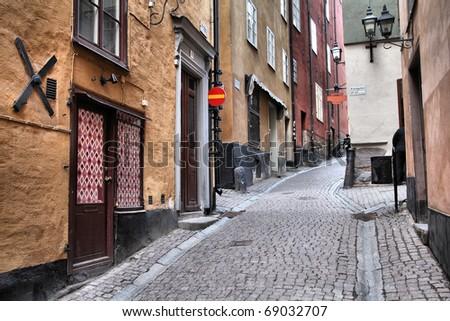 Stockholm, Sweden. Old town - Gamla Stan. Street view. - stock photo