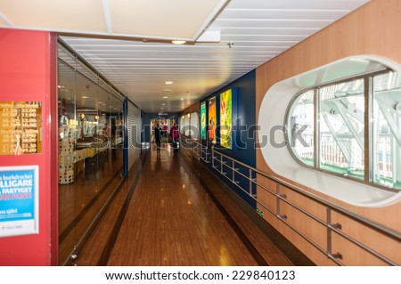 STOCKHOLM, SWEDEN - SEP 7, 2014: Interior of Cruiseferry of the Estonian company Tallink. It is one of the largest passenger and cargo shipping companies in the Baltic Sea region - stock photo