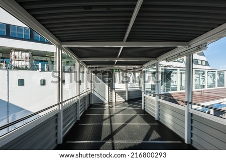 STOCKHOLM, SWEDEN - SEP 7, 2014: Passage to the Cruiseferry of the Estonian company Tallink. It is one of the largest passenger and cargo shipping companies in the Baltic Sea region - stock photo