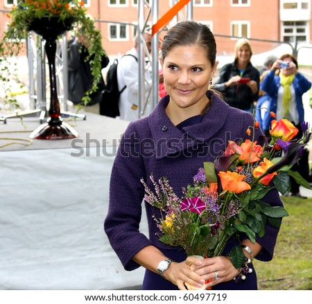 STOCKHOLM, SWEDEN- SEPT 3: Her Royal Highness Crown Princess Victoria at the ground-breaking ceremony for the New Karolinska Solna-Stockholm (Sweden) Sept 3, 2010 in Stockholm. - stock photo