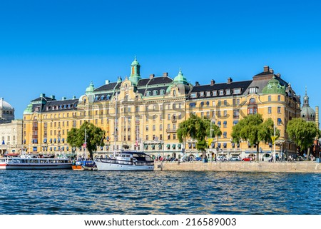 STOCKHOLM, SWEDEN - SEPTEMBER 7, 2014:Architecture in the centre of Stockholm, Sweden. Stockholm is the capital of Sweden and the most populous city in Scandinavia, and a popular touristic destination - stock photo