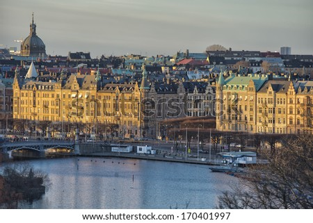 Stockholm view at sunset panorama in winter time - stock photo